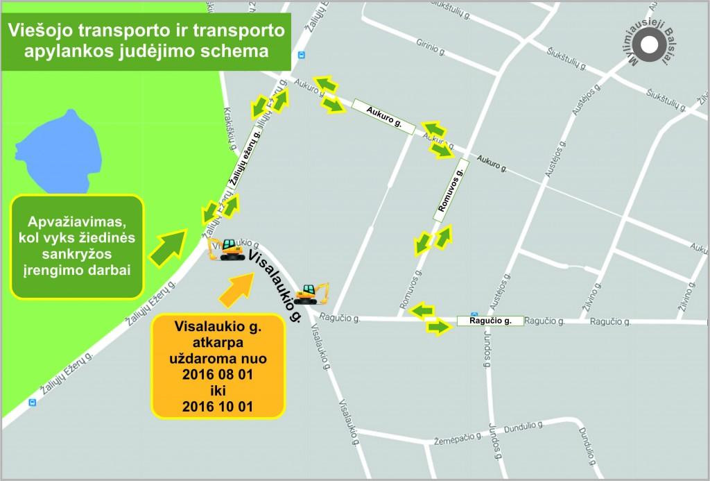 Viešojo transporto ir transporto apylankos judėjimo schema